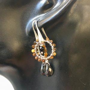 orecchini argento con occhio di tigre e spinello nero, IStone